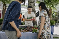 Zhang You works for Shared Harvest CSA and is selling produce from the farm at Beijing Farmer's Market.
