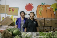 Left, Han Shuhua, local villager. She's been working at Shared Harvest for 2 years and half. Right, Zhu Shujun, local villager. She's been working at Shared Harvest for 3 years. Every Friday is the busiest in the packaging room. They can get twice as many orders on Friday than usual.