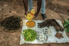 A farmer perapers Dashparnikashayam at his field as a part of Zero Budget Natural Farming.